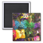 Close-up of colorful miniature masks 2 inch square magnet