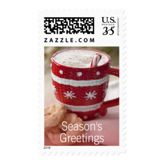Close up of cookies and mug of hot chocolate postage
