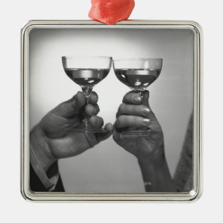 Close up of couple toasting with white wine B&W Metal Ornament