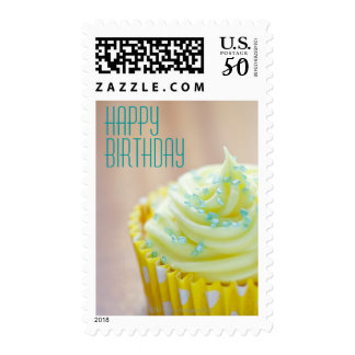 Close up of cup cake showing decoration postage