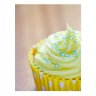 Close up of cup cake showing decoration postcard