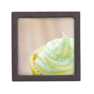Close up of cup cake showing decoration premium trinket box
