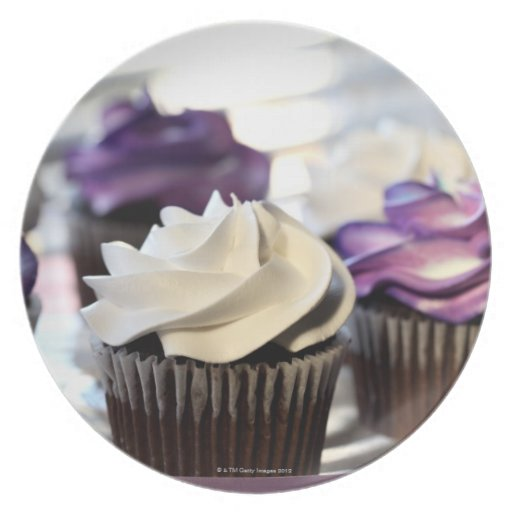 Close-up of cupcakes with selective focus on dinner plate