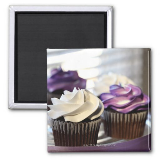 Close-up of cupcakes with selective focus on refrigerator magnets