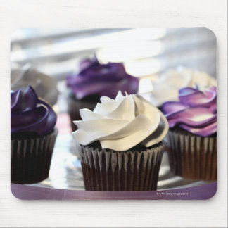 Close-up of cupcakes with selective focus on mouse pads