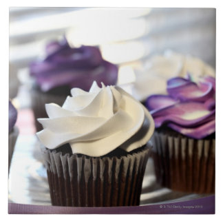 Close-up of cupcakes with selective focus on tile