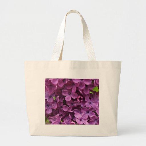 close up of dark purple lilac canvas bag