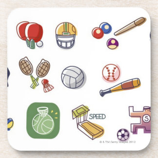 Close-up of different type of sports equipments drink coaster