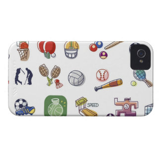 Close-up of different type of sports equipments iPhone 4 case