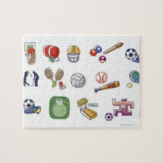 Close-up of different type of sports equipments jigsaw puzzle