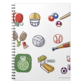 Close-up of different type of sports equipments notebook