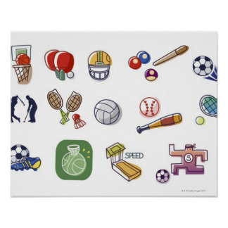 Close-up of different type of sports equipments poster
