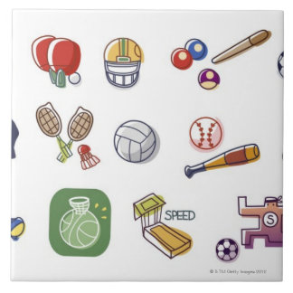 Close-up of different type of sports equipments tile