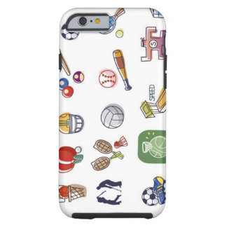 Close-up of different type of sports equipments tough iPhone 6 case