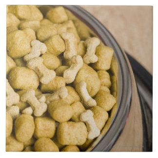 Close-up of dog food in a dog bowl ceramic tile