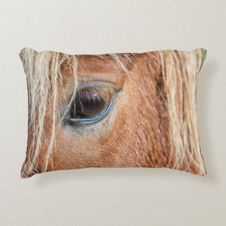 Close-up of eye and head of Icelandic horse Decorative Pillow