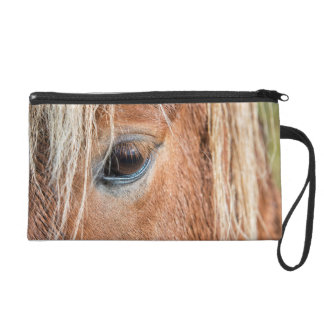 Close-up of eye and head of Icelandic horse Wristlet Purse
