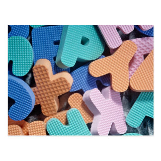 Close-up of foam letters for kids postcard