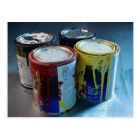 Close-up of four paint cans postcard