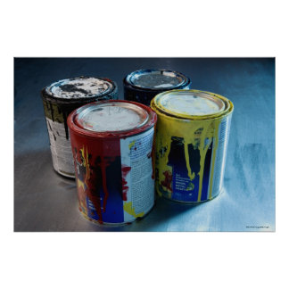 Close-up of four paint cans poster