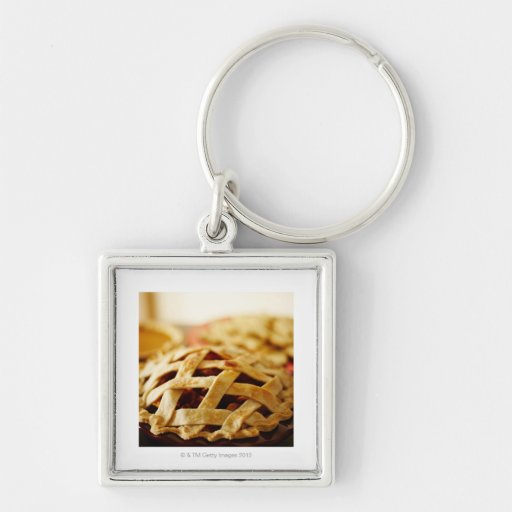 Close-up of fresh pie with lattice pattern crust keychain