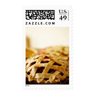 Close-up of Fresh Pie with Lattice Pattern Crust Postage Stamp