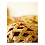 Close-up of fresh pie with lattice pattern crust postcard