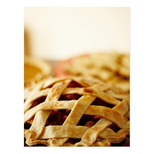 Close-up of fresh pie with lattice pattern crust postcard