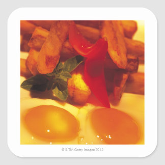 close-up of fried eggs with french fries square sticker