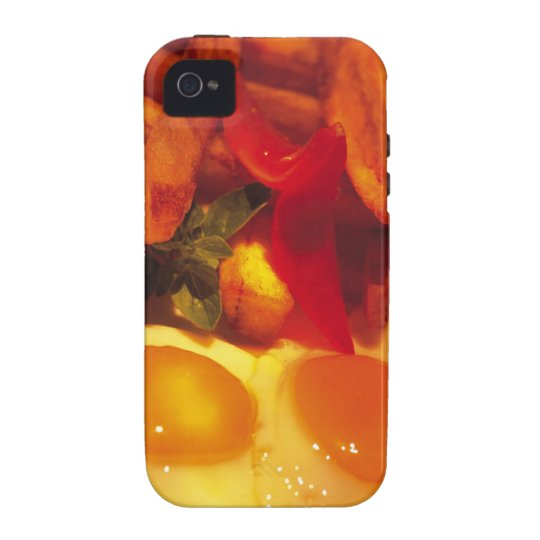 close-up of fried eggs with french fries vibe iPhone 4 cover
