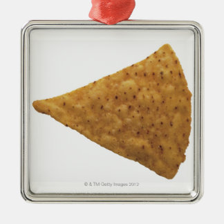 close-up of fried savory square metal christmas ornament