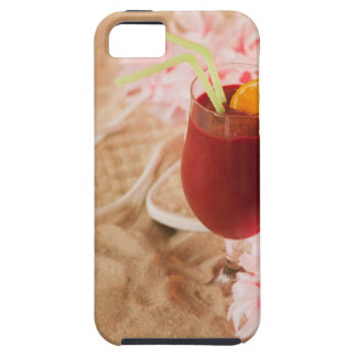 Close up of frozen drink and lei on sand iPhone SE/5/5s case