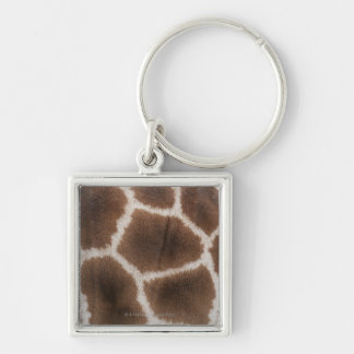 Close up of Giraffes Skin Silver-Colored Square Keychain