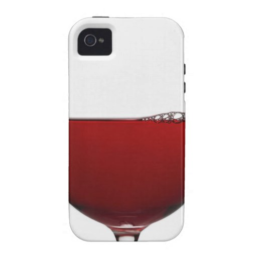 Close up of glass of red wine on white iPhone 4 cases