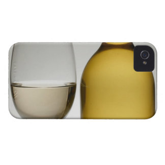 Close up of glass of white wine and wine bottle iPhone 4 case