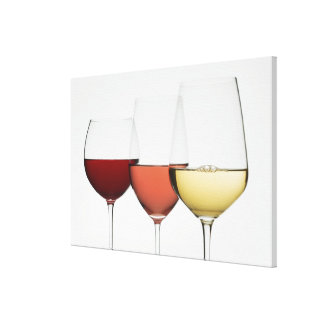 Close up of glasses of different wines canvas print