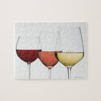Close up of glasses of different wines jigsaw puzzle
