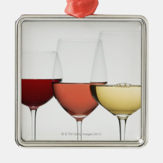 Close up of glasses of different wines ornaments