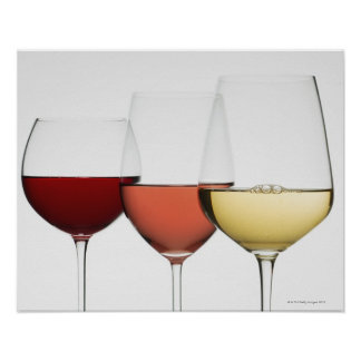 Close up of glasses of different wines print