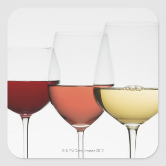 Close up of glasses of different wines square sticker