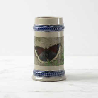 Close up of Gorgeous Mourning Cloak Butterfly Beer Stein