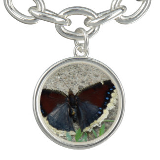 Close up of Gorgeous Mourning Cloak Butterfly Charm Bracelets