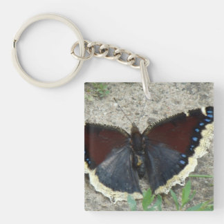 Close up of Gorgeous Mourning Cloak Butterfly Keychain