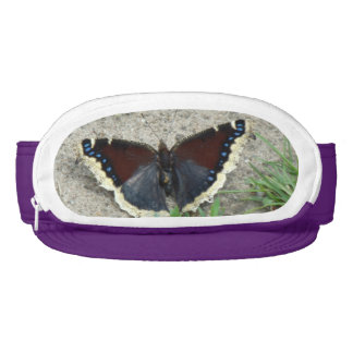Close up of Gorgeous Mourning Cloak Butterfly Visor