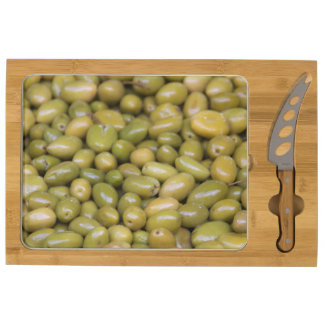 Close Up Of Green Olives Cheese Platter