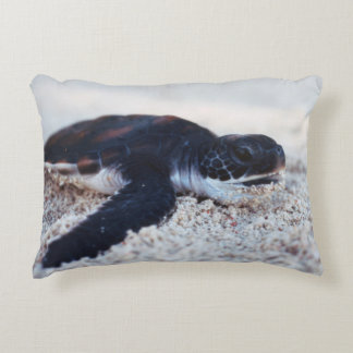 Close-Up of green sea turtle hatchings 1 Decorative Pillow