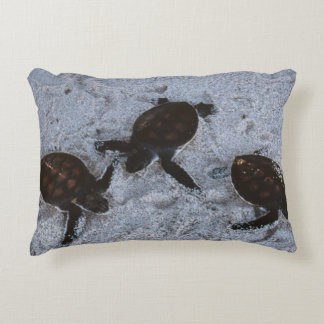 Close-Up of green sea turtle hatchings 2 Accent Pillow