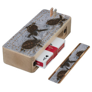 Close-Up of green sea turtle hatchings 2 Wood Cribbage Board