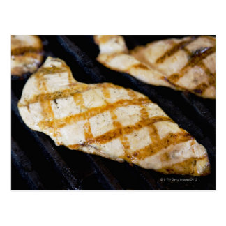 Close-up of grilled chicken breasts postcard