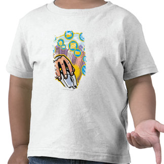 Close-up of hand on computer mouse t shirt